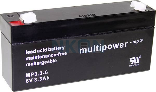 Multipower 6V 3.3Ah Batería de plomo (4.8mm)
