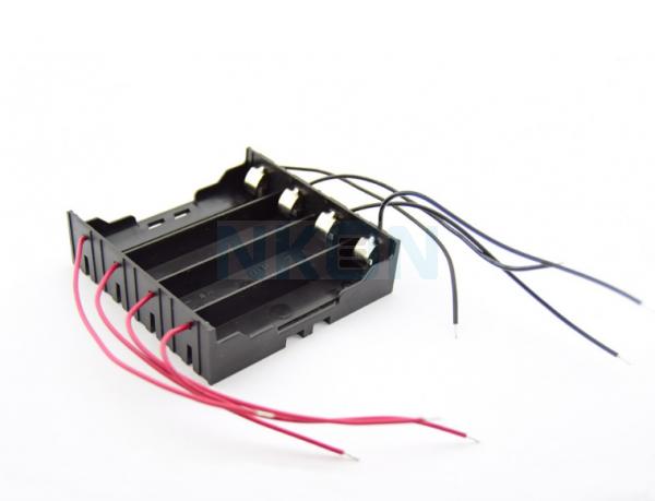 4x 18650 Soporte de batería con contactos terminales y cables sueltos