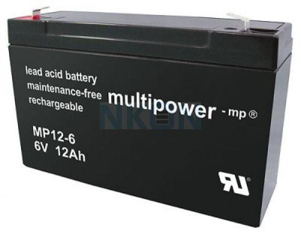 Multipower 6V 12Ah Batería de plomo (4.8mm)