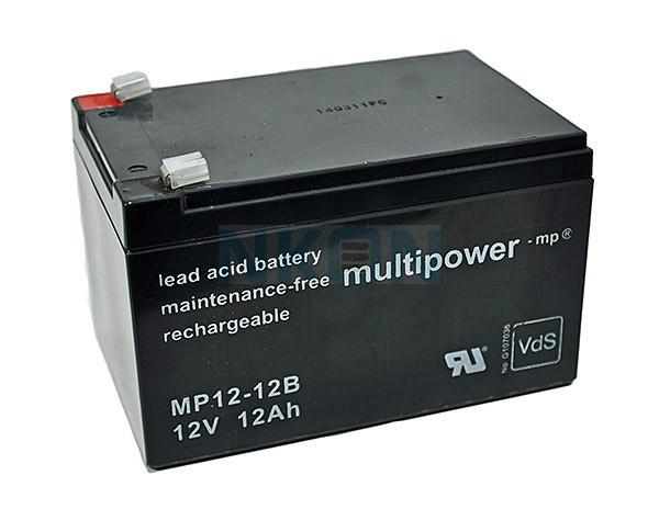 Multipower 12V 12Ah Batería de plomo (6.3mm)