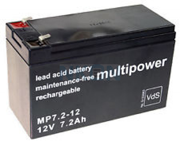 Multipower 12V 7.2Ah Batería de plomo (4.8mm)