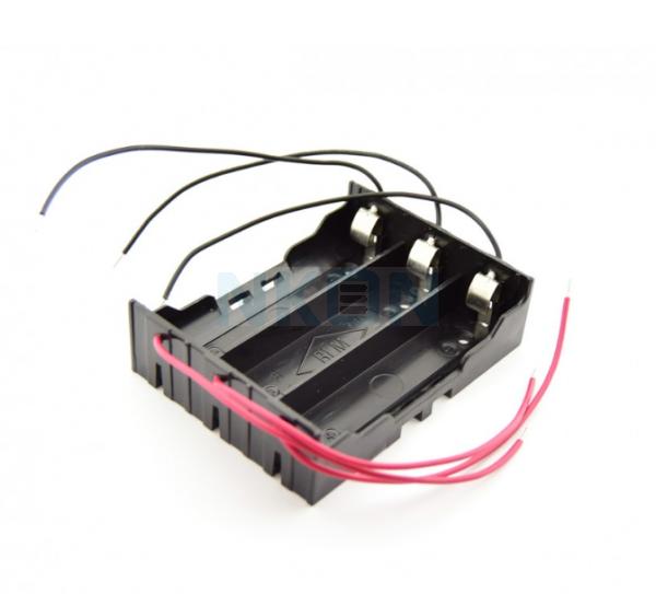 3x 18650 Soporte de batería con contactos de abrazadera y cables sueltos