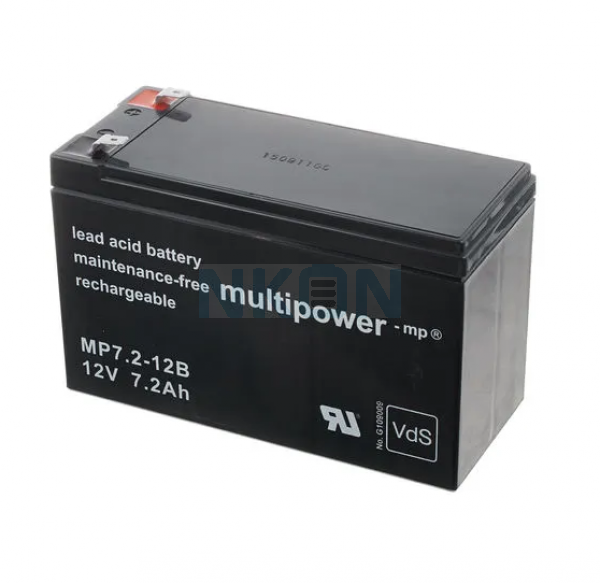 Multipower 12V 7.2Ah Batería de plomo(6.3mm)