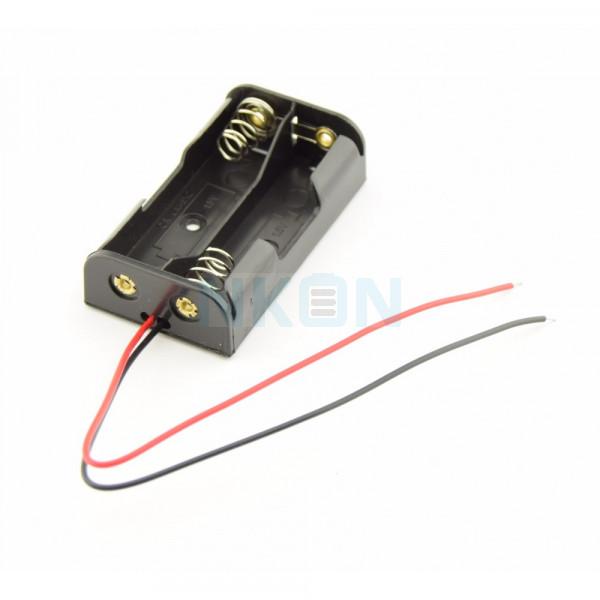 Soporte para pilas AA 2x con cables sueltos