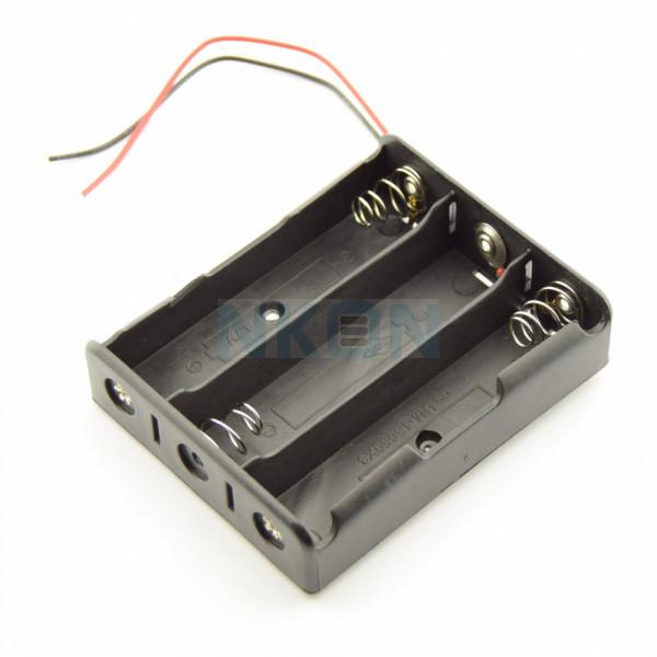 Soporte de batería 3x 18650 con cables sueltos