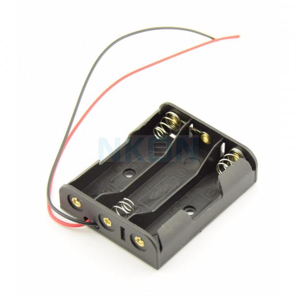 Soporte para pilas AA 3x con cables sueltos