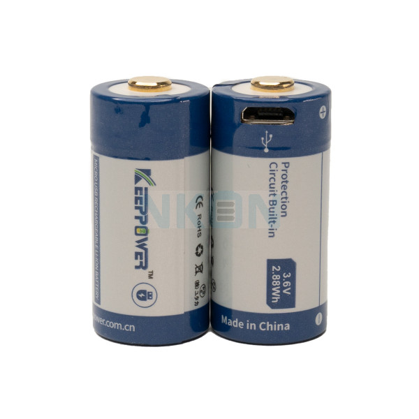 2x Keeppower RCR123A 800mAh (protected) - 1.5A - USB