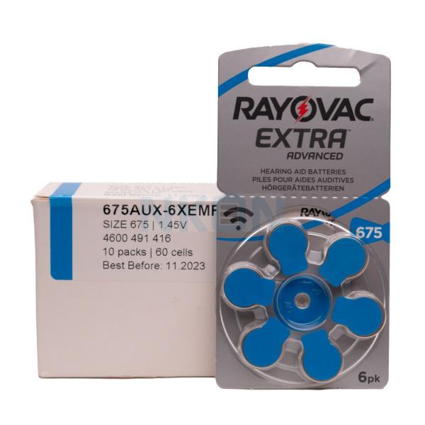 60x 675 Rayovac Extra Pilas para audífonos