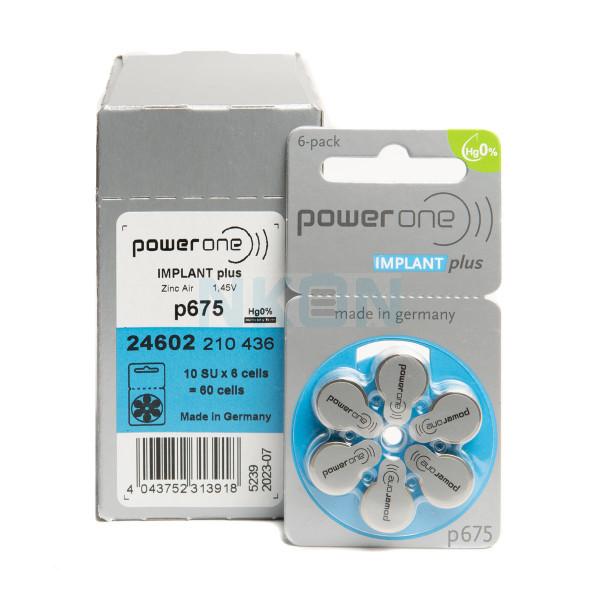 60x 675 PowerOne Implant Plus Pilas para audífonos