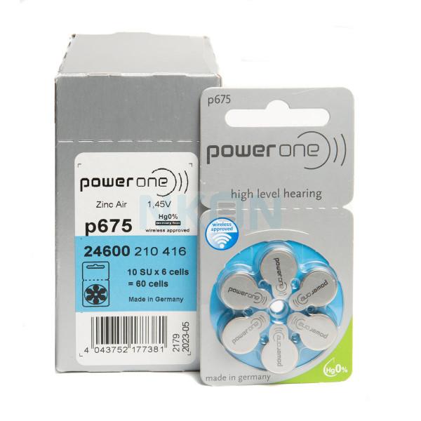 60x 675 PowerOne Pilas para audífonos