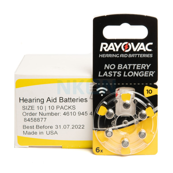 60x 10 Rayovac Acoustic Special Pilas para audífonos