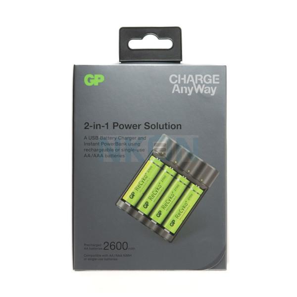 GP Recyko X411 - banco de potencia / cargador de batería + 4 AA GP (2600mAh)