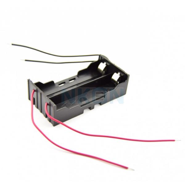 2x 18650 Soporte de batería con contactos de abrazadera y cables sueltos