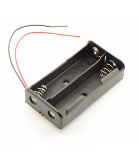 Soporte de batería 2x 18650 con cables sueltos
