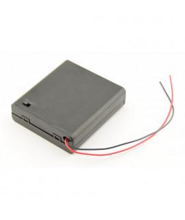 Caja de baterías AA 4x con cables sueltos e interruptor