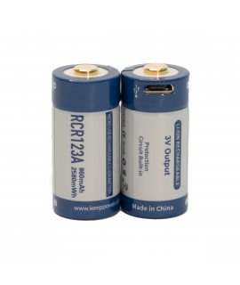 2x Keeppower RCR123A 860mAh (protected) - 1.5A - USB