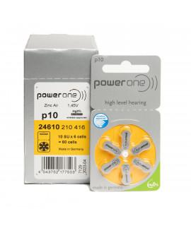 60x 10 PowerOne Pilas para audífonos