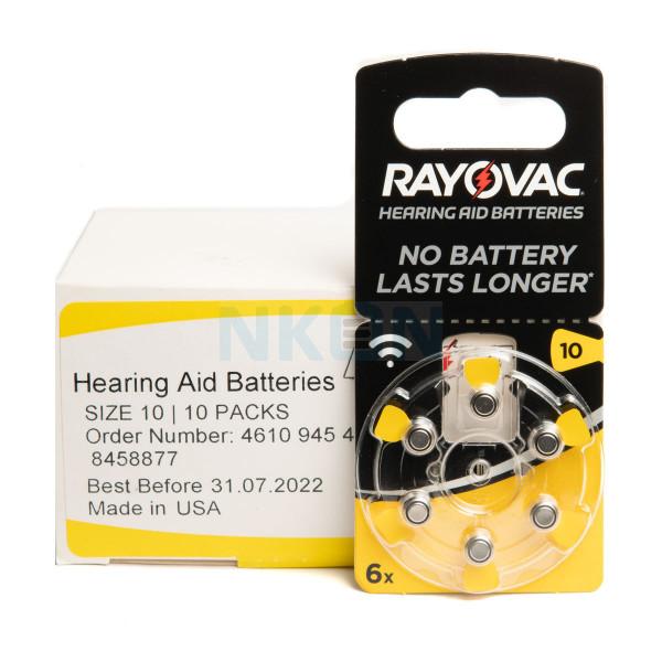 10x6 Rayovac Acoustic Special 10 батарейки для слухового аппарата