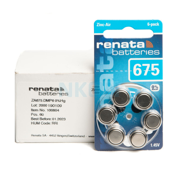 10x6 Renata ZA 675 батарейки для слухового аппарата
