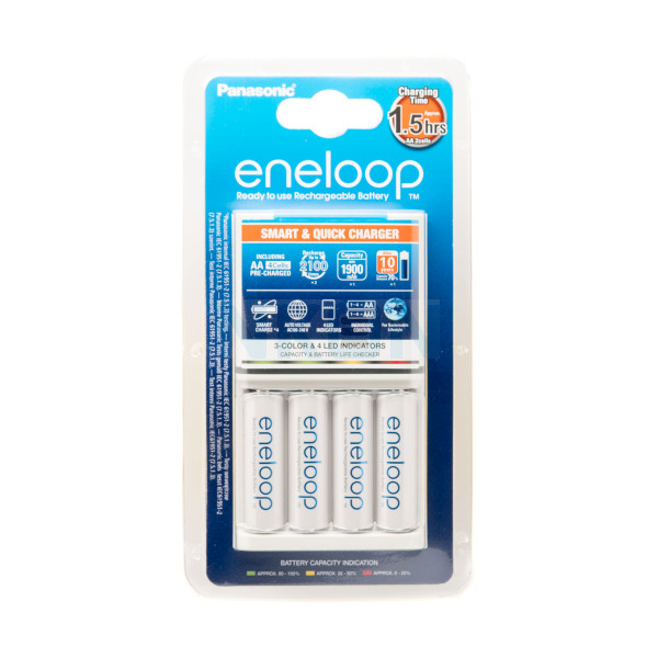 Panasonic Eneloop BQ-CC55 зарядка для батарей + 4 AA Eneloop (1900 mAh)