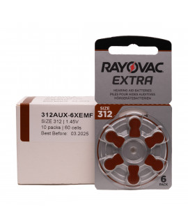 10x6 Rayovac Extra 312 батарейки для слухового аппарата