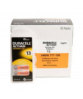 10x6 Duracell Activair 13 батарейки для слухового аппарата
