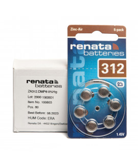 10x6 Renata ZA 312 батарейки для слухового аппарата