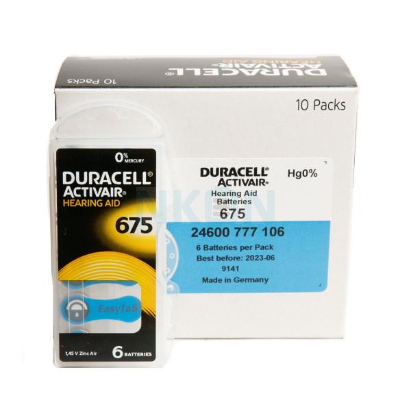 60x 675 Duracell Activair Hörgerätebatterien