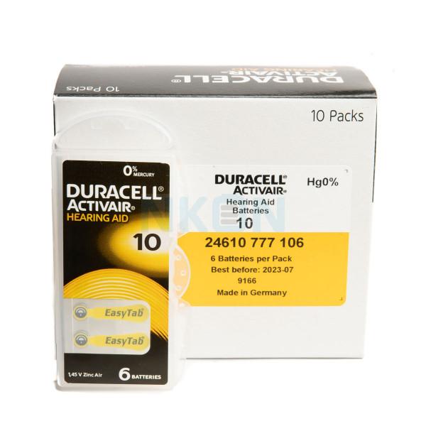 60x 10 Duracell Activair Hörgerätebatterien