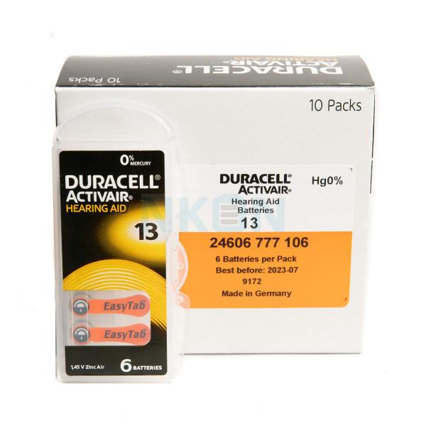 60x 13 Duracell Activair Hörgerätebatterien