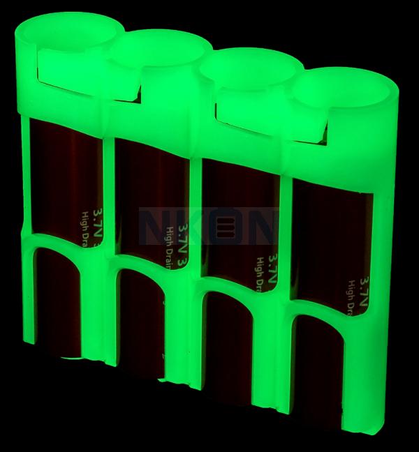 4x 18650 Powerpax Batteriebox - glow in the dark