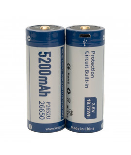 2x Keeppower 26650 5200mAh (protected) - 8A - USB