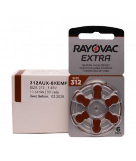 60x 312 Rayovac Extra Hörgerätebatterien